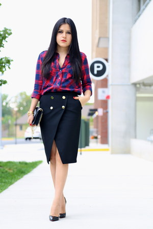 Zara shirt - Barneys New York bag - Zara skirt - Christian Louboutin heels