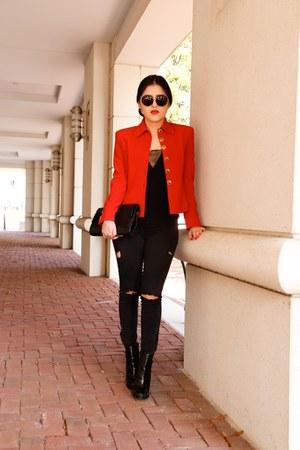 St John blazer - Zara boots - Forever 21 jeans - Zara bag - Zara top