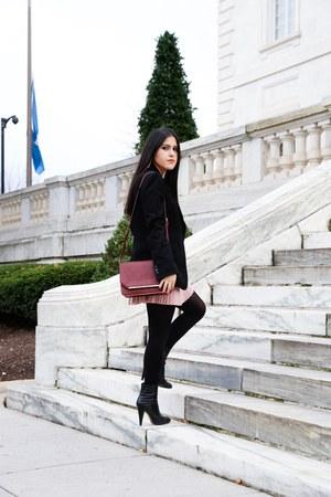 Zara bag - Boutique 9 boots - madewell sweater - emporio armani blazer