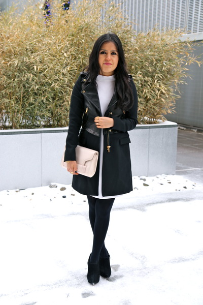Zara dress - sam edelman boots - Zara coat - hm bag