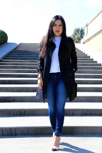 Zara coat - J Brand jeans - vintage bag - Zara sandals