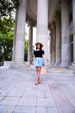 abercrombie and fitch top - H&M hat - Zara bag - Zara skirt - Zara heels