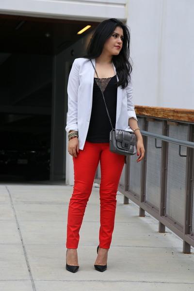 Zara blouse - Mango blazer - bcbg max azria bag - Zara heels - H&M pants