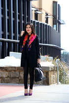 Zara shirt - DKNY blazer - Ellen Tracy scarf - Zara bag - Zara pants
