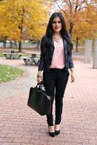Zara jacket - Zara bag - Zara pants - Zara blouse - Schutz heels