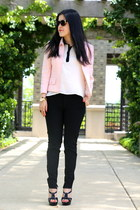 escada jacket - H&M sunglasses - Laila & Savannah blouse - YSL heels