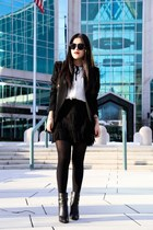 Zara top - Boutique 9 boots - dark gray emporio armani blazer - Zara skirt