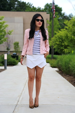 Zara shorts - escada jacket - H&M bag - Zara t-shirt - tony bianco heels