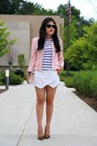 Zara shorts - escada jacket - H&M bag - Zara t-shirt - tony bianco heels