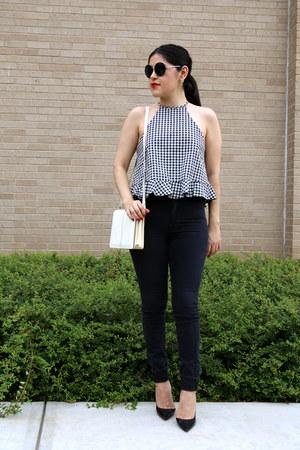 Zara top - Zara jeans - vintage bag - hm sunglasses - Zara heels