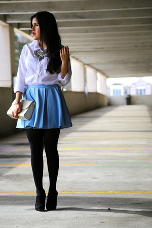 Zara necklace - sam edelman boots - unknown shirt - vintage bag - Zara skirt