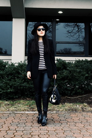 Zara boots - Zara hat - emporio armani blazer - Zara bag - Zara pants