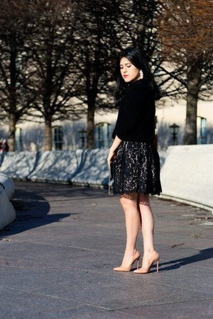 vintage dress - Zara sweater - Barneys New York bag - Christian Louboutin heels