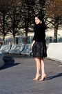 Vintage-dress-zara-sweater-barneys-new-york-bag-christian-louboutin-heels