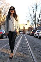 Zara leggings - vintage shirt - bcbg max azria bag - Zara Man cardigan