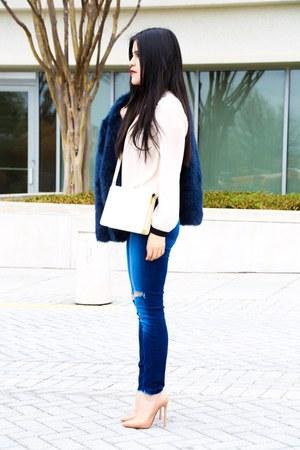Zara coat - J Brand jeans - Forever 21 top - Christian Louboutin heels