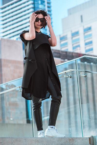 black plants cyeoms dress - black 2-in-1 melissa araujo vest