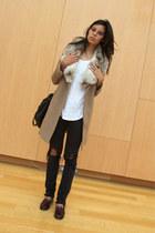camel camel coat Tara Jarmon coat - black acne jeans