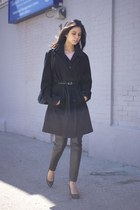 black mens coat john varatos coat - black leather H&M pants - black Gucci heels