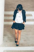 white marble Zara shirt - black oversize cotton Black Crane shirt