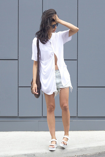 white monk cyeoms shirt - dark brown donna Alexander Wang bag