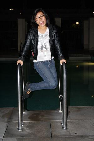 black jacket - white Forever 21 shirt - blue jeans - black shoes