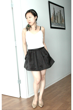 Theory top - f21 skirt - calvin klein shoes - necklace - earrings