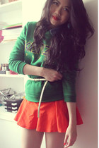 blue H&M shirt - forest green Kenzo sweater - orange Zara skirt - gold H&M belt