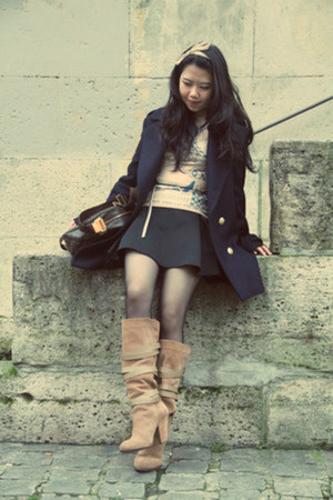 tan Zara boots - navy Zara coat - tan maison martin margiela X H&amp;M top