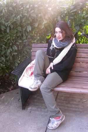 gray H&M scarf - beige scarf - green Steve & Barrys pants - black sweater - whit