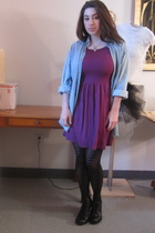 purple H&M dress - blue vintage top - black tights - black born shoes