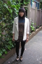H&M blazer - leggings - restricted shoes - forever 21 blouse - forever 21 access