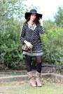 Dark-khaki-suede-fornarina-boots-black-cotton-zara-dress-black-wool-h-m-hat