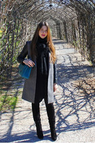 Chanel Jumbo XXL bag - suede vintage boots - Zara coat