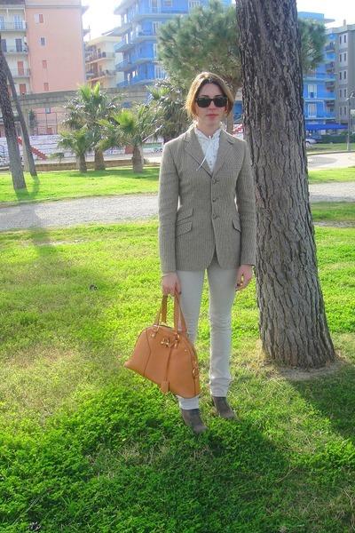 white Brandy & Melville shirt - green Ralph Lauren jacket - beige Siviglia pants