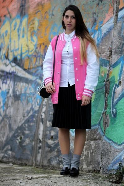 bubble gum cotton Gigio Store jacket - white cotton H&M shirt
