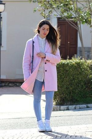 light pink wool Bershka coat - periwinkle cotton Pimkie leggings