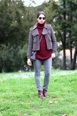 charcoal gray tweed Zara jacket - crimson Kurt Geiger boots