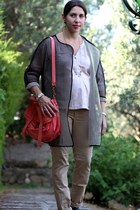 black mesh Front Row Shop coat - salmon leather PROENZA SCHOULER bag