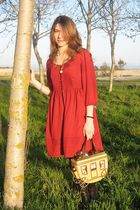 red H&M dress - brown Blueprint boots - beige Braccialini Carriage purse - gold