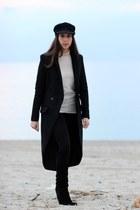 black suede vintage boots - black wool H&M coat - navy wool vintage hat