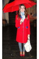 red El Ganso coat - white Herms foulard accessories - blue H&M jeans - red Forna