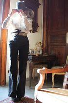 gray Borsalino hat - beige Mariano Rubinacci shirt - black vintage pants - black