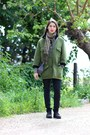 Black-faux-leather-primadonna-shoes-army-green-neoprene-front-row-shop-coat