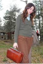 brick red vintage bag - army green Zara sweater - burnt orange Zara pants - ligh
