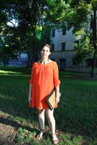 Zara dress - wicker vintage clutch bag - pony skin flats Zara flats
