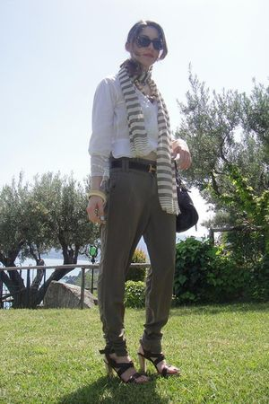 green Stradivarius pants - brown Sergio Rossi shoes - brown Chlo Puddington - wh