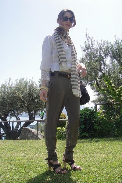green Stradivarius pants - brown Sergio Rossi shoes - brown Chlo Puddington - wh