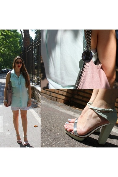 aquamarine silk H&M shirt - light pink faux leather Stella McCartney bag