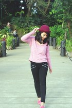 black Bershka pants - bubble gum world balance loafers